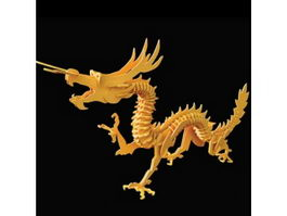 Wooden toy dragon puzzle 3d preview