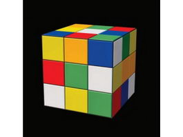 Plastic toy rubik cube 3d model