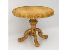 Antique round wood table 3d model