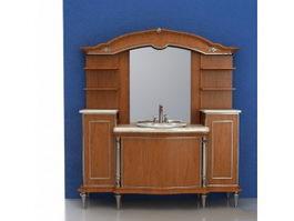 Wood bathroom vanity cabinet sets 3d model