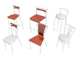 Six modern chairs and stools 3d model