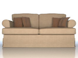 Modern two-seaters fabric sofa 3d model