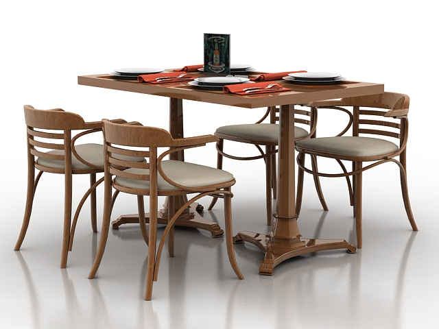 Wooden Dining Table Set 3d Model
