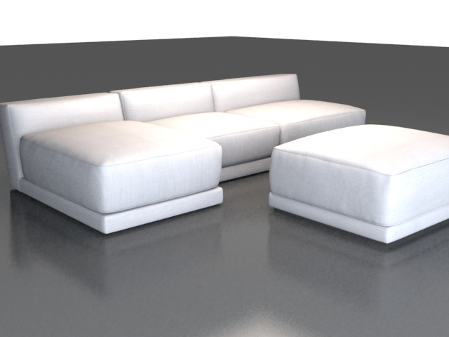 Modern Fabric Sectional Sofa 3d Model 3dsmax3DSWavefront