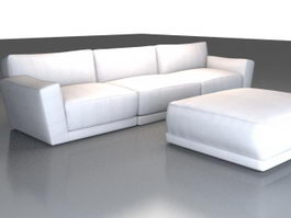 Modern sectional sofa and ottoman 3d model