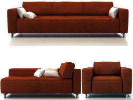 Fabric sofa set furniture 3d model