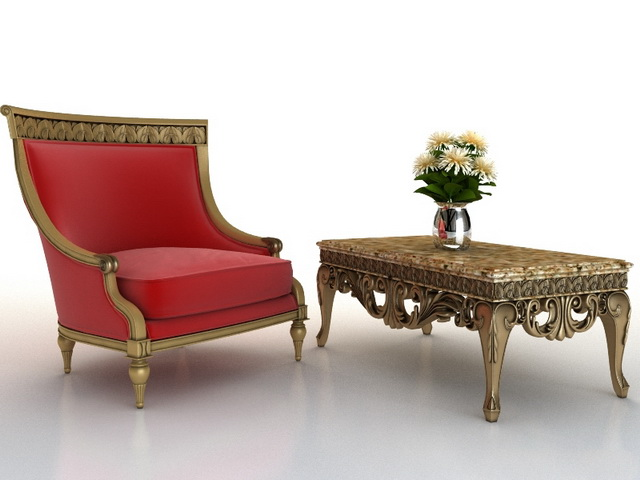 Classic Furniture Sofa And Coffee Table 3d Model 3dsmax