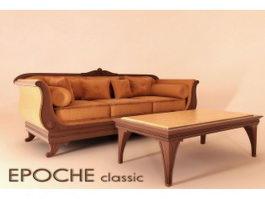 Classic divan sofa and coffee table 3d model