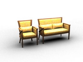 Vintage settee 3d model