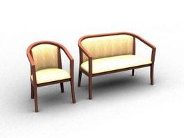 Fabric wooden settee 3d model