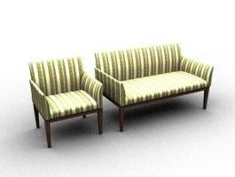 Wood fabric sofa settee 3d model