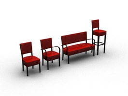 Four chairs set 3d model