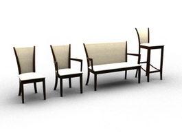 Wood chair set 3d model