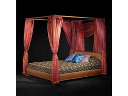 Asian style furniture classic canopy bed 3d model
