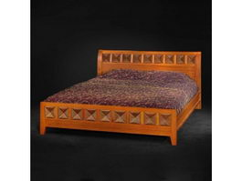 Asian style furniture bed 3d model