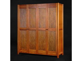 Chinese lacquer furniture wardrobe 3d model