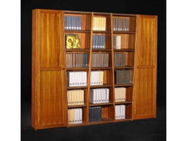 Classic solid wood bookshelf 3d model