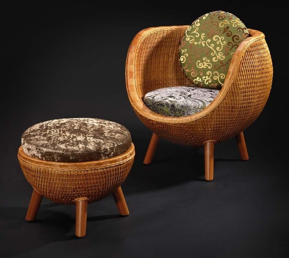 This Chinese Rattan Chair And Ottoman Free 3d Models Available In 3dsmax  And Vray, No Textures Included, Consist Of Rattan Ball Chair, Leisure Chair  Ottoman ...