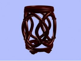 Chinese antique round stool 3d model