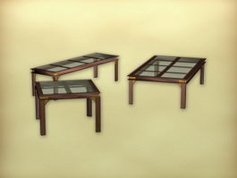 Chinese antique tea table sets 3d model