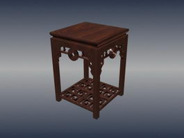 Chinese furniture antique square stool 3d model