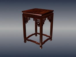 Chinese furniture carved square stool 3d model