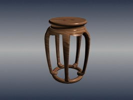 Chinese furniture antique round stool 3d model