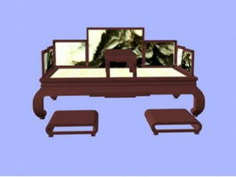 Chinese Ming-style furniture bed 3d model