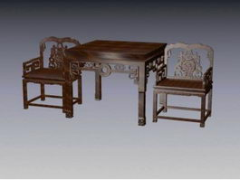 Chinese antique wooden carved chair 3d model