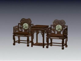 Chinese wood carving chair 3d model