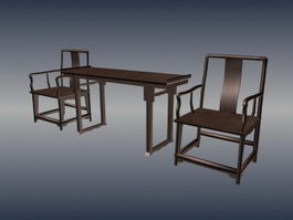 Chinese antique furniture living room sets 3d model