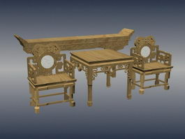 Chinese antique furniture set 3d model