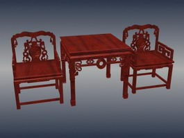 Chinese antique mahogany furniture sets 3d model