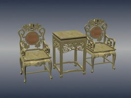 Chinese style antique living room set 3d model