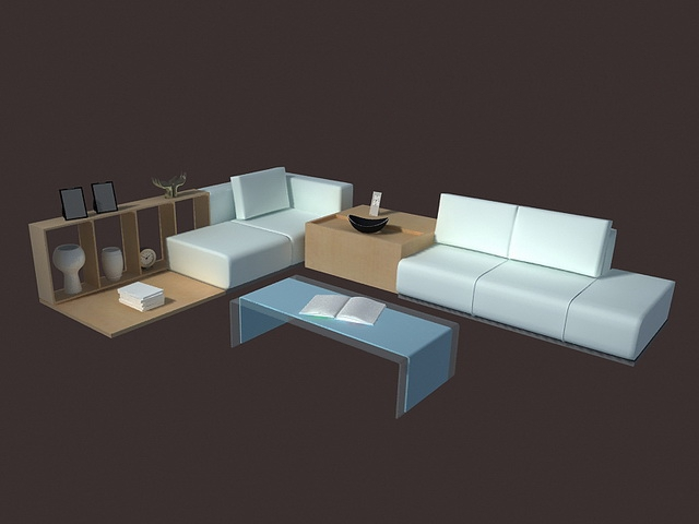 Modern Living Room Set Furniture 3d Model