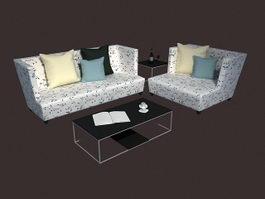 Living room sofa sets 3d model