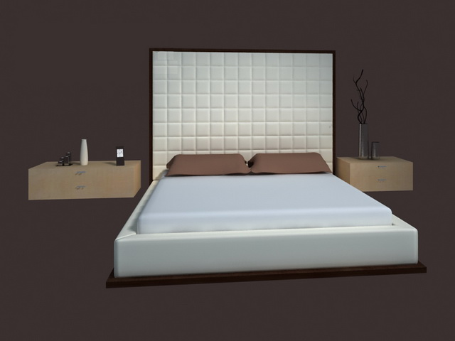Bed design furniture modern bed 3d model 3dsmax files free for Bedroom designs 3d model
