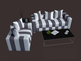 Modern fabric sofa set 3d model