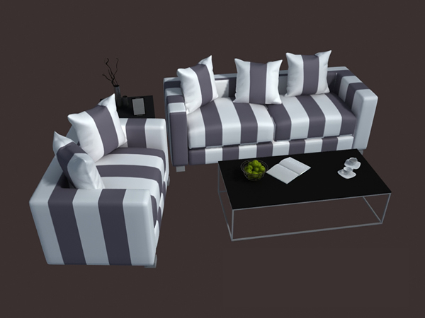 Modern Sofa Set 3d Model 3dsmax 3ds Files Free Download Modeling