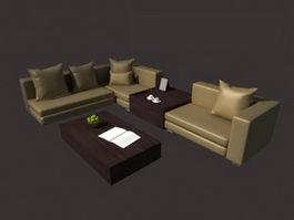 Drawing room sofa set 3d model