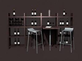 Home wine bar furniture set 3d model
