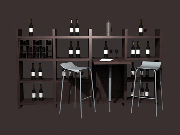 Home wine bar furniture set 3d model 3dsmax files free for Food bar 3d model