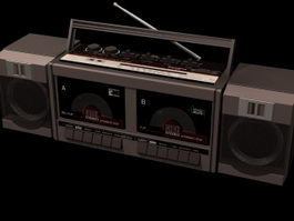 Radio and cassette recorder 3d model