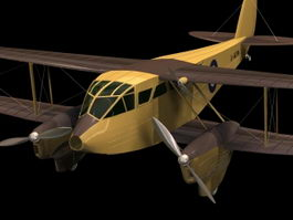 De Havilland DH.89 Dragon Rapide airliner 3d model