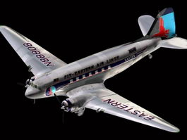 Douglas DC-3 transport aircraft 3d model