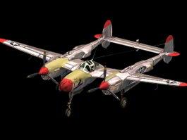 P-38J Lightning heavy fighter 3d model