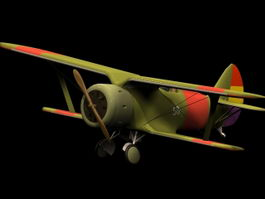 Polikarpov I-15 biplane fighter 3d model