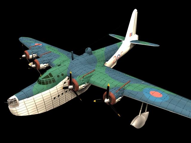 Short Sunderland flying boat bomber 3d model - CadNav