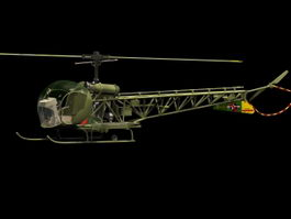 H-13 Sioux light helicopter 3d model