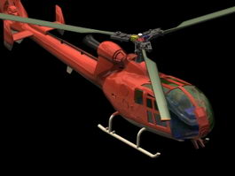 Eurocopter Gazelle armed helicopter 3d model